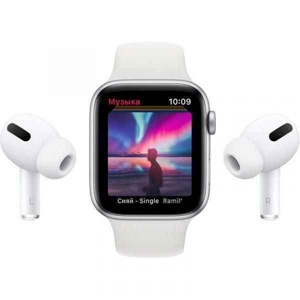 Часы Apple Watch SE 44 мм корпус из алюминия серебристого цвета, спортивный ремешок белого цвета-2