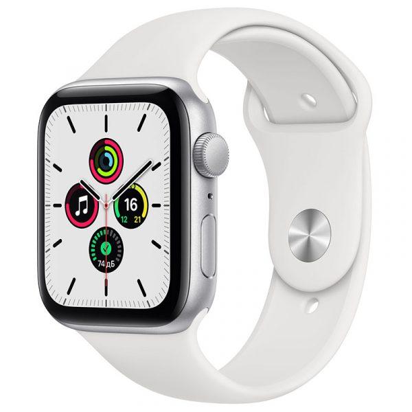 Часы Apple Watch SE 44 мм корпус из алюминия серебристого цвета, спортивный ремешок белого цвета