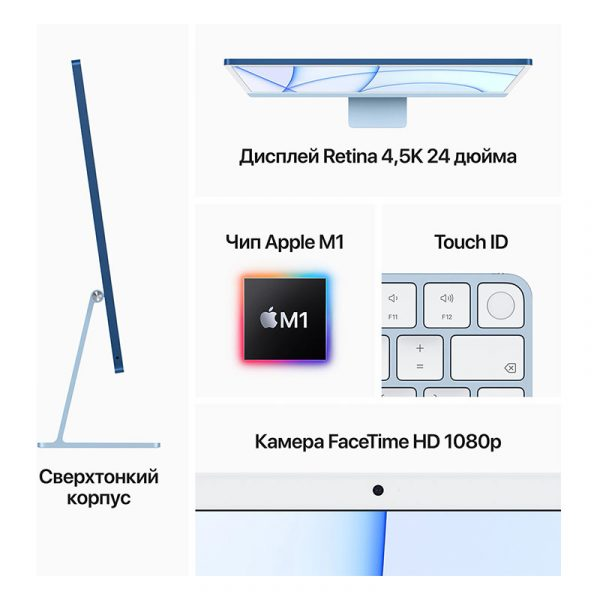 "Моноблок Apple iMac 24"" Retina 4,5K, (M1 8C CPU, 8C GPU), 8 ГБ, 512 ГБ SSD, Розовый (MGPN3) - 7"