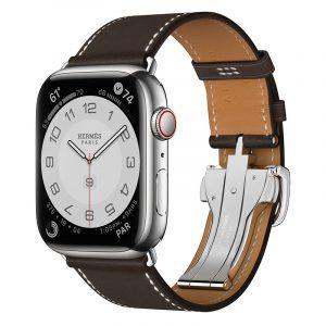 Часы Apple Watch Series 7 Hermes 45 мм ремешок из тёмно-коричневой кожи с раскладывающейся застёжкой