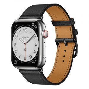 Часы Apple Watch Series 7 Hermes 45 мм с кожаным ремешком черного цвета