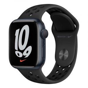 Умные часы Apple Watch Nike Series 7 GPS 41мм Aluminum Case with Sport Band Антрацитовый/Чёрный (MKN43)