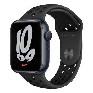 Умные часы Apple Watch Nike Series 7 GPS 45мм Aluminum Case with Sport Band Антрацитовый/Чёрный (MKNC3)