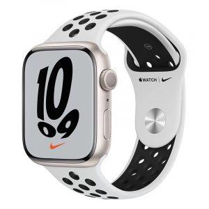 Умные часы Apple Watch Nike Series 7 GPS 45мм Aluminum Case with Sport Band Чистая платина/Чёрный (MKNA3)