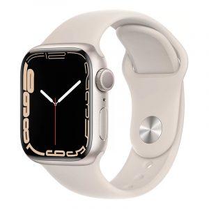 Умные часы Apple Watch Series 7 GPS 41мм Aluminium with Sport Band Сияющая звезда (MKMY3)