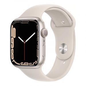 Умные часы Apple Watch Series 7 GPS 45мм Aluminium with Sport Band Сияющая звезда (MKN63)
